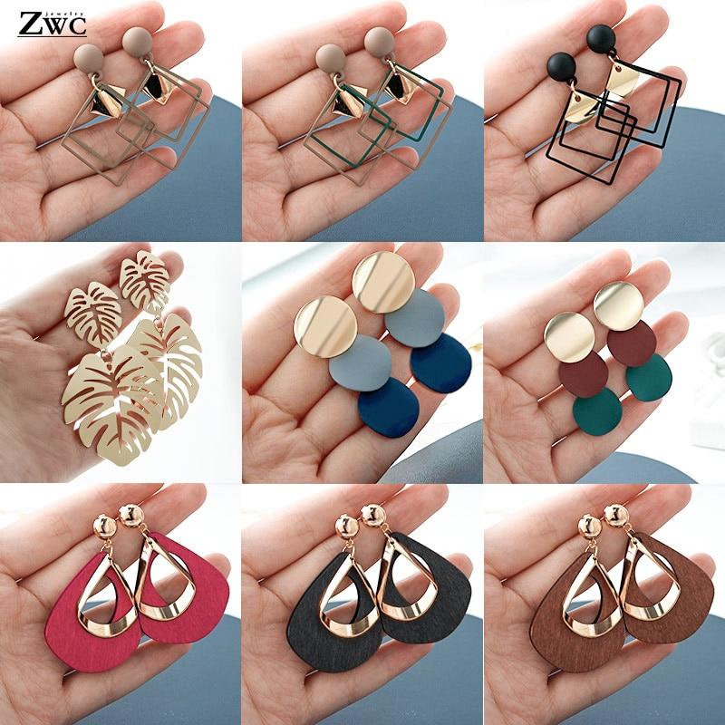 ZWC New Korean Acrylic Earrings For Women Statement Vintage Geometric Gold Dangle Drop Earrings  Female Wedding Fashion Jewelry