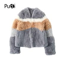 Pudi FF908 Women Winter Faux Rabbit Fur Coat Jacket Lady Multi-color Splicing Fur Coats Jackets