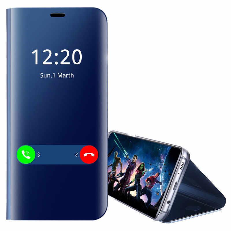 فليب غطاء لسامسونج J7 J3 J6 J4 J8 2018 جراب هاتف تصفيح مرآة لسامسونج J3 J5 J7 2017 كوكه الرأسي قوس غطاء