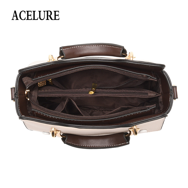 ACELURE Metal Handle Small Handbags For Female Solid Color Pu Leather Shoulder Bags For Women All-Match Ladies Crossbody Bags