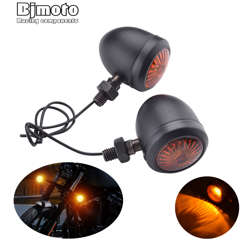 2PCS Motorcycle Turn Signals Indicator Light Retro Bullet Flashers LED Blubs Lamp For Harley Honda Suzuki Yamaha Kawasaki ATV