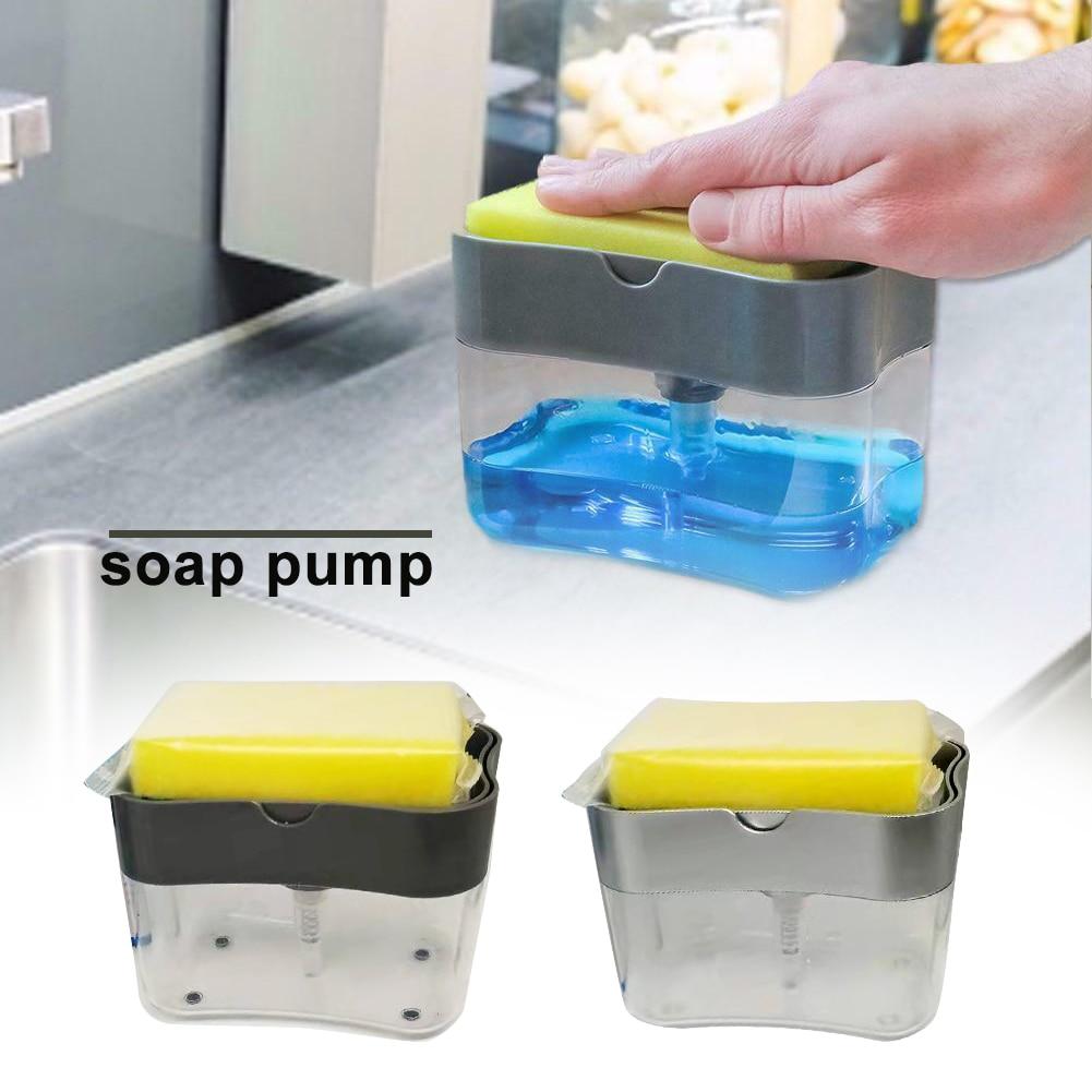 ABS Soap Dispenser Pump Washing Bathroom Toilet Kitchen Home Hand Push Sponge Holder Water Resistant Portable Dispenser