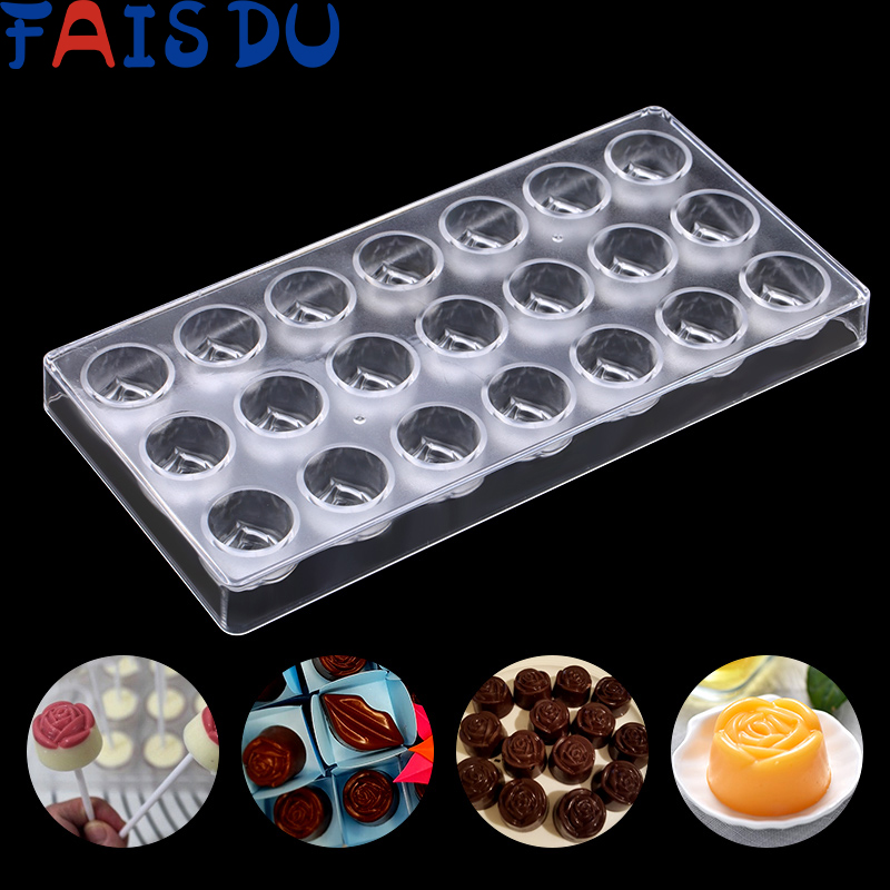 21 Rose Shape Clear Diamond Chocolate Mould DIY Baking Polycarbonate PC Chocolate Maker Mousse Candy Mold Baking Pastry Tool|Cake Molds| |  - title=