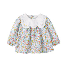 Pureborn Baby Girl Blouse Sweety Collar Children Kids Baby Clothes Floral Prints Long Sleeve Cotton Spring Autumn Tops