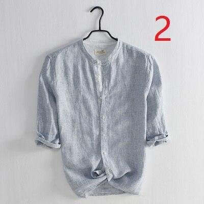 Small Fresh Art Men's Linen Shirt Casual Small Stand Collar Seven-point Sleeve Shirt Striped Cotton