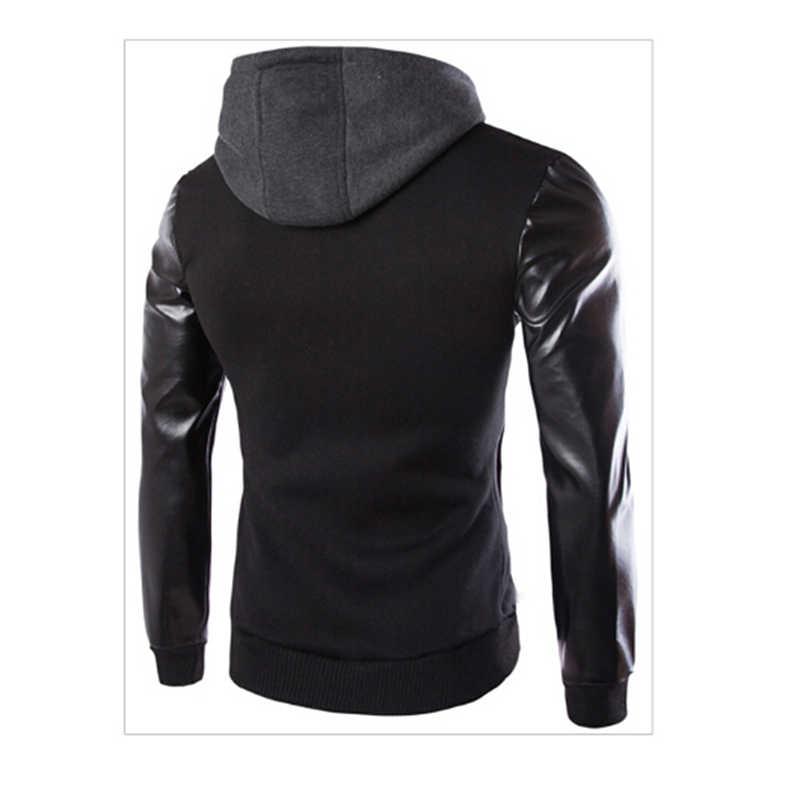Bahar spor ceket erkek kapşonlu koşu ceket ve ceket PU deri kol ince giyim ceket erkekler fermuar ceket spor 823133