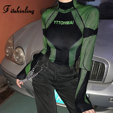 Fitshinling Fashion New Turtleneck Autumn Tops Tees Shirts 2019 Letter Striped T-Shirts For Women Long Sleeve Slim Fitness Shirt