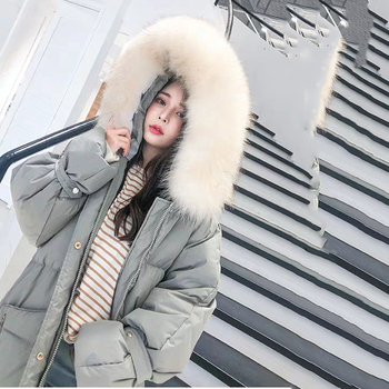 Fashion White Fur Collar Hooded Warm Coat Women X-long Jacket 2020 New Winter Loose Down Jacket Thick Coat Female Outerwear WM22 6