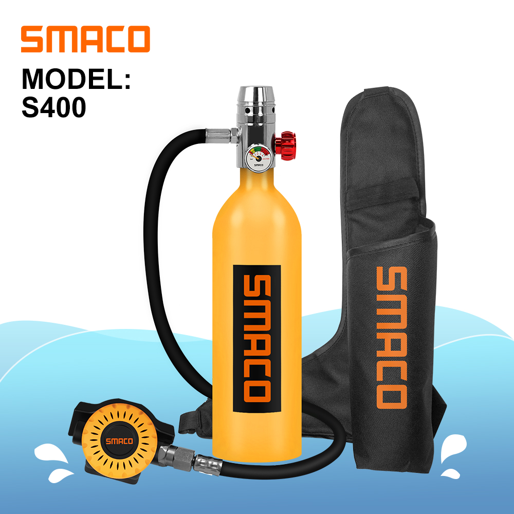SMACO S400 Mini Scuba Diving Tank Equipment, Dive Cylinder with 16 Minutes Capability, 1 Litre Capacity with Refillable Design(China)