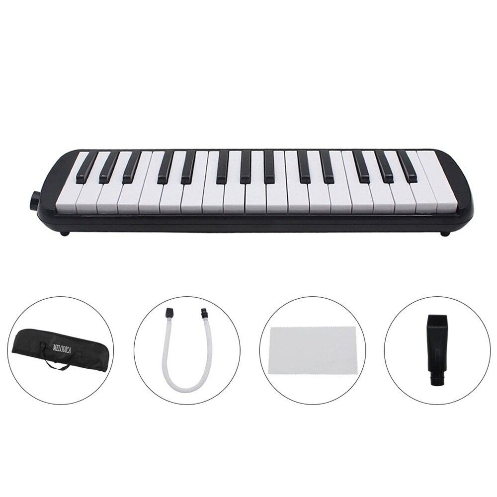 1 Set 32 Key Piano Style Melodica With Box Organ Accordion Mouth Piece Blow Key Board  42.5 * 10.5 * 4.3cm (Black)