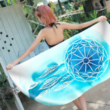 Outdoor Women Rectangular Hand-painted Pattern Sauna Seaside blanket  Swimming Beach Towel