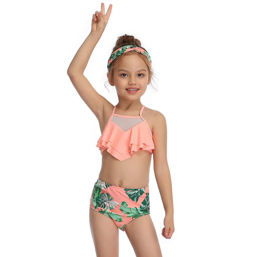 Bikini Girls Swimsuit Beach-Flower Print Toddler Summer Cute Leaf 2--14years title=