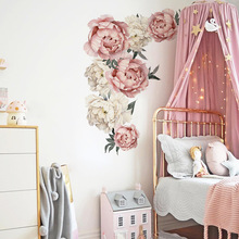 4colors Peony Flower Wall Stickers for Living room Bedroom Sofa Background Wall Decals Removable Vinyl DIY Sticker Plant Murals blue peony wall stickers bedroom living room tv background diy vinyl plants wall decals eco friendly removable diy wall murals