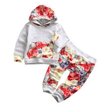 Newborn Toddler Boys Girls Hooded Tops T-shirt Long Sleeve Hoodie + Floral Pants Sweatsuit Tracksuit Outfits Clothes(China)