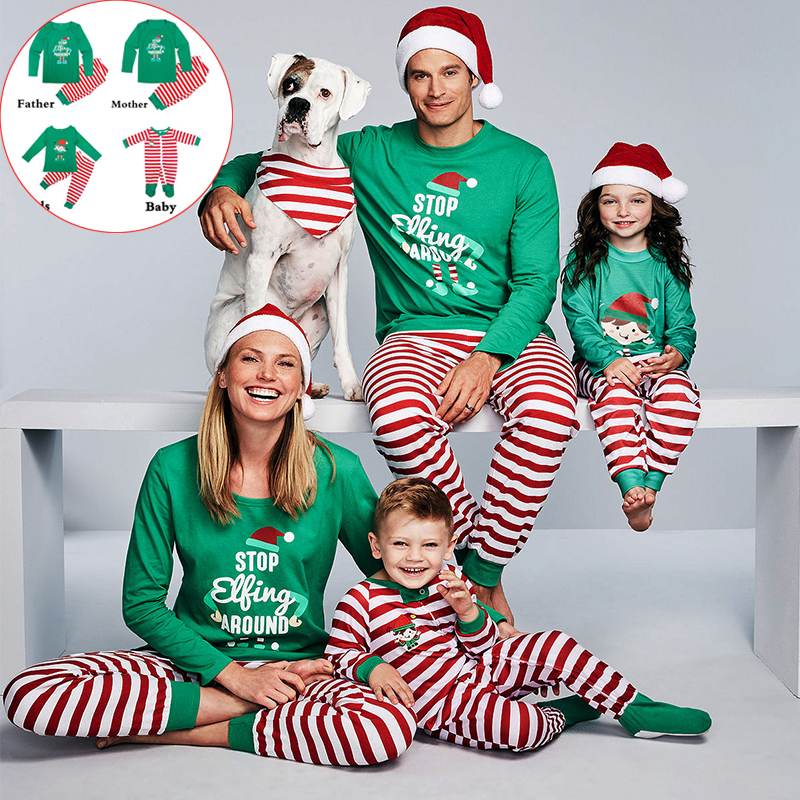 2019 Family Matching Pajamas Christmas Family Clothing Set Tees Kids Infant Baby Girl Boys Father Mother Chrismas Sleeping Wear