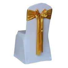 Дешевые 50 шт./лот, Красный/Золотой/синий, 14 цветов, свадебные чехлы на стулья, атласная ткань, галстук-бабочка, лента, резинка-украшение, вечерние принадлежности для отелей