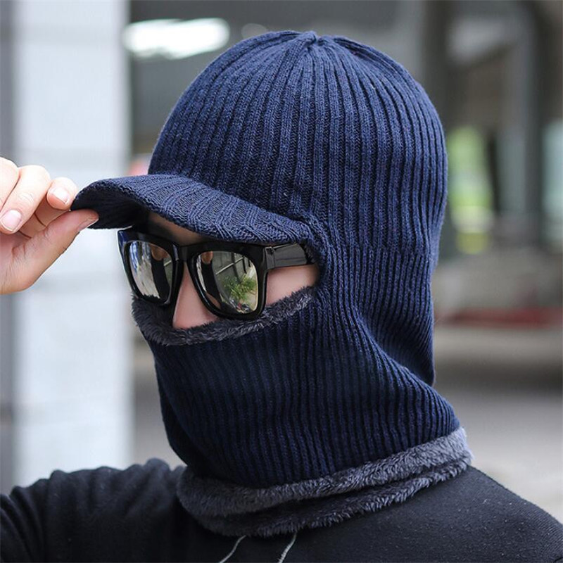 Winter Knit Hat Scarf Set Men Women Warm Plush Hooded Hat Scarf With Brim Male Visor Beanies Adult Solid Cap Ring Scarves