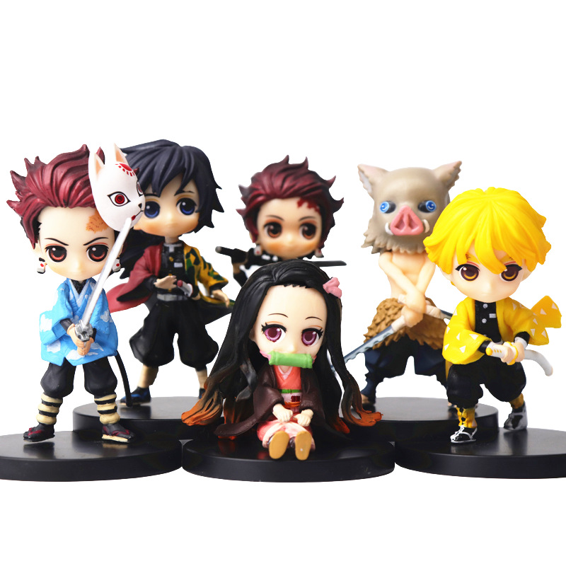 Devil's Blade Figure Demon Slayer Nezuko Tanjirou Zenitsu Giyuu Inosuke Q Ver. Action Figure Anime Kimetsu No Yaiba Figurine Toy