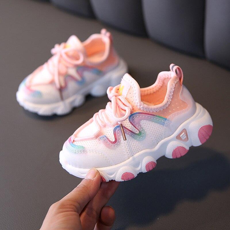 Nova primavera crianças sapatos para meninas sapatos de desporto moda respirável sapatos de bebê fundo macio antiderrapante casuais crianças menina tênis