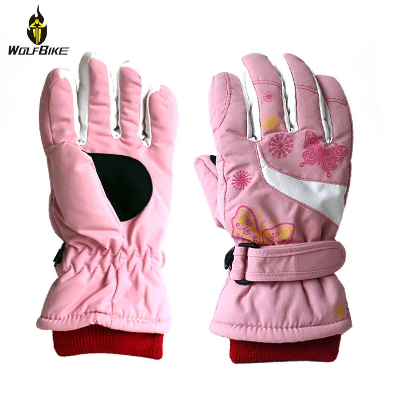Non-slip Wearable Waterproof 4-10 Years Kids Ski Gloves Fleece Skateboard Windproof Snowboard Climbing Scooter Sports Gloves