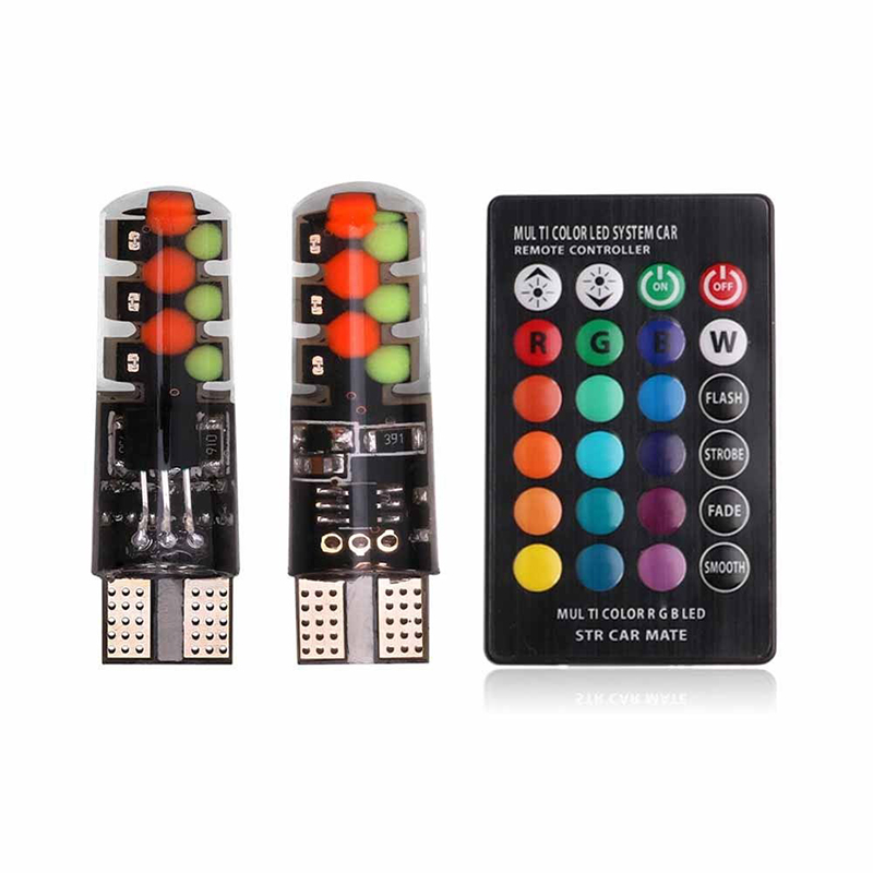 T10 W5W RGB LED Remote 12V 5050 SMD Signal Lamp Reading Wedge Light Car Interior Decorative Light Car Styling Clearance Lights