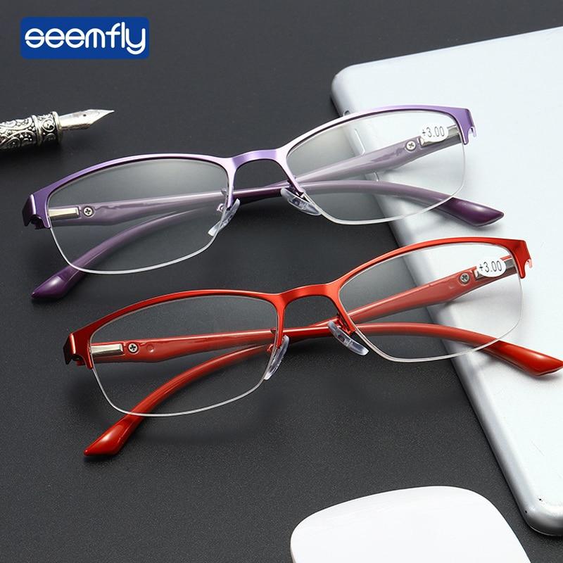 Seemfly элегантные женские очки для чтения фиолетовые красные металлические полуоправы очки для чтения TR90 весенние очки увеличительные очки