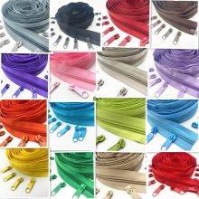 5 Meters (5.4Yard ) 5 # (20 Colors) Long Nylon Coil Zipper with 10pcs Zipper Slider for DIY Sewing Clothing Accessories