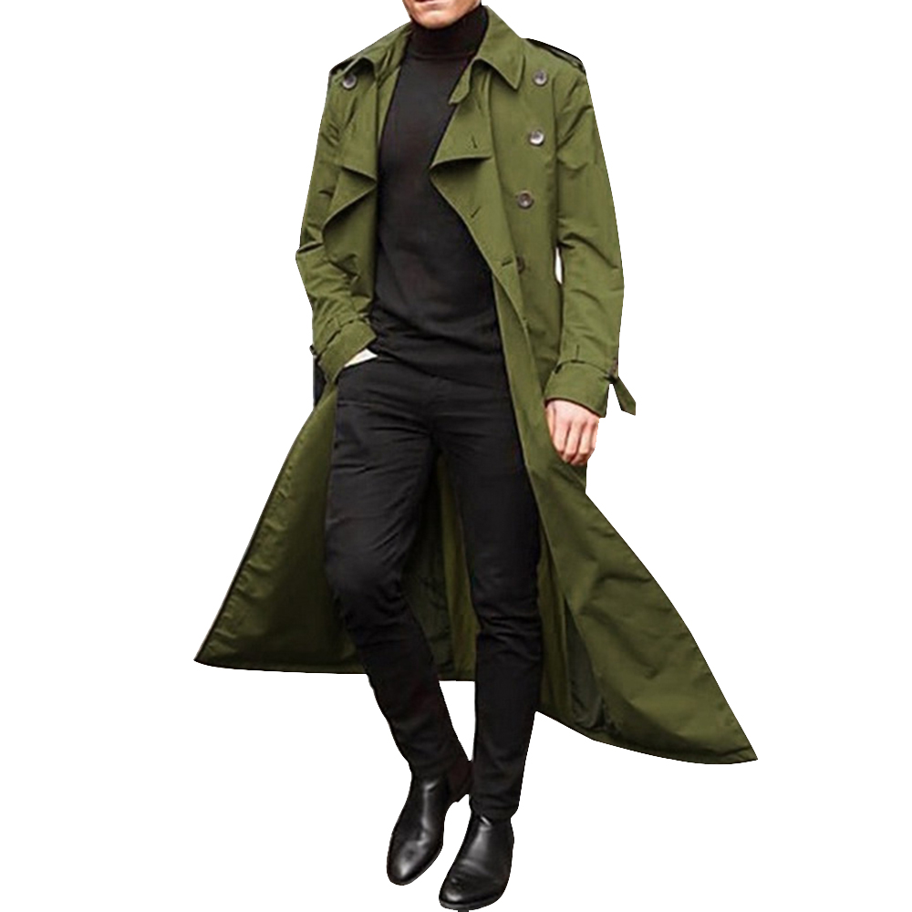 Hb131bc9210ef4f699f40a7805a8099dfX HEFLASHOR 2019 Long Trench Coat Men Solid Classic Winter Jacket Men Casual Loose British Style Trench Overcoat Streetwear Coat