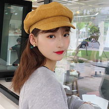 HT2588 Newsboy Cap Spring Autumn Women Berets Ladies Solid Plain Octagonal Artist Painter Hats for Beret