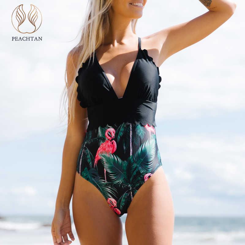 Peachtan Sexy stampa floreale tute monokini scollo a V costume da bagno di un pezzo 2020 Increspato costumi da bagno delle donne Estremo bagnanti costume da bagno
