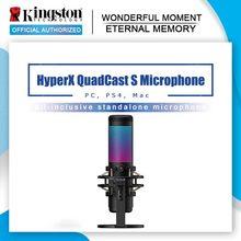 Kingston-micrófono electrónico HyperX QuadCast S, dispositivo profesional deportivo para ordenador, micrófono en vivo RGB, juego de voz