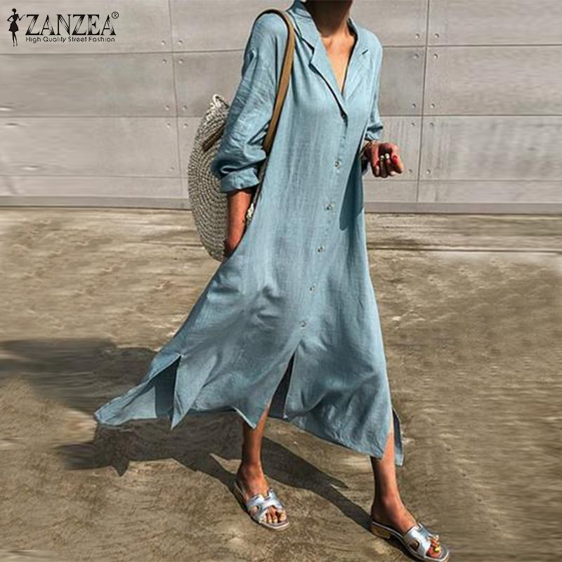 Women Elegant V Neck Button Down Long Shirt Dress ZANZEA Autumn Solid Cotton Linen Sundress Femme Robe Long Sleeve Lapel Vestido