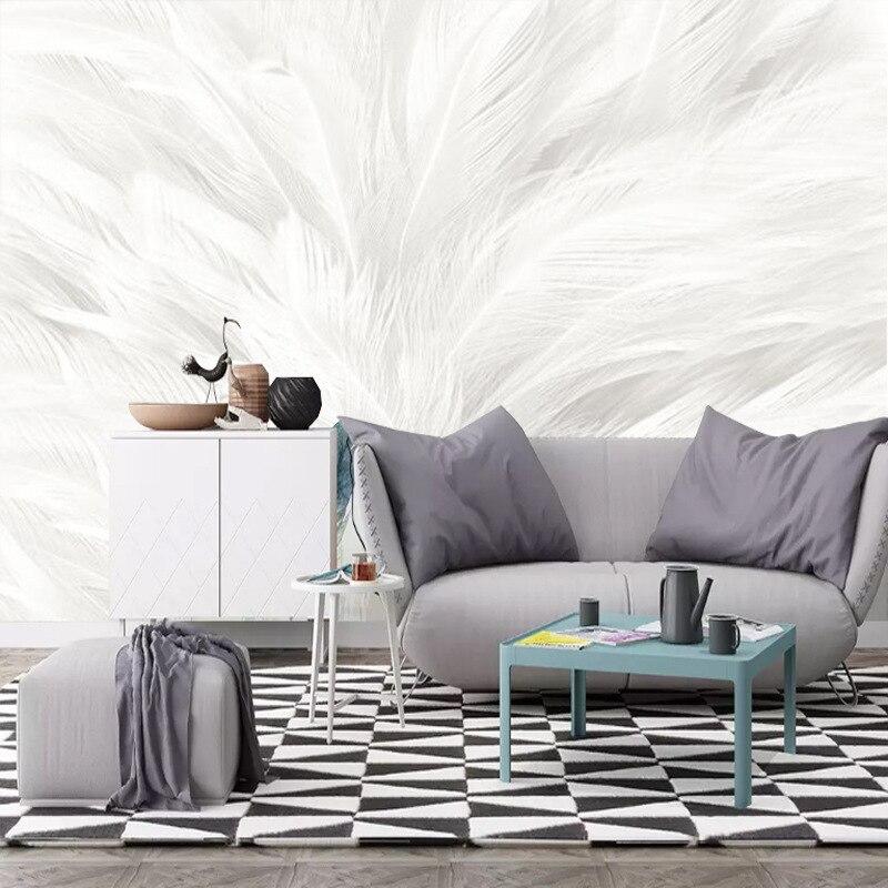 Скандинавские минималистичные современные расписанные вручную обои с белыми перьями для зала спальни ТВ фон обои бесшовная Фреска