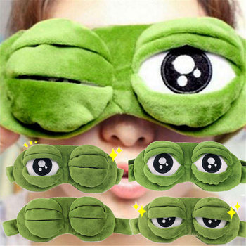 Funny Creative Pepe The Frog Sad Frog 3D Eye Mask Cover Cartoon Soft Plush Sleeping Mask Green