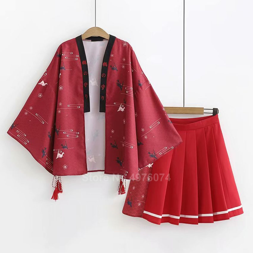 Crane Print Traditional Japanese Yukata Blouse+haori+skirt Clothing Set For Women Casual Harajuku Thin Sunscreen Jacket