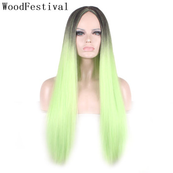WoodFestival Womens Synthetic Cosplay Wig Heat Resistant ombre Long Straight Hair Wigs for Women blonde Pink brown Black Green woodfestival 20inch women wigs hair heat resistant black to navy blue curly synthetic wig cosplay