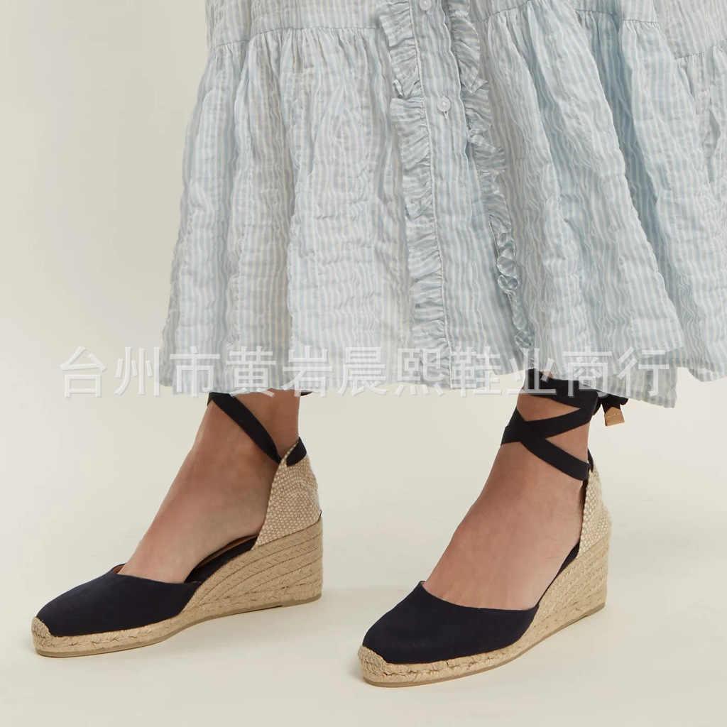 Kadın Espadrille ayak bileği kayışı sandalet rahat terlik bayanlar bayan rahat ayakkabılar nefes keten kenevir kanvas pompaları 12