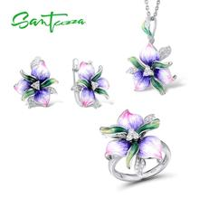 Santuzza Jewelry Sets For Woman 925 Sterling Silver Elegant Pink Purpl Flower Earrings Pendant Ring Fine Jewelry Handmade Enamel цена и фото