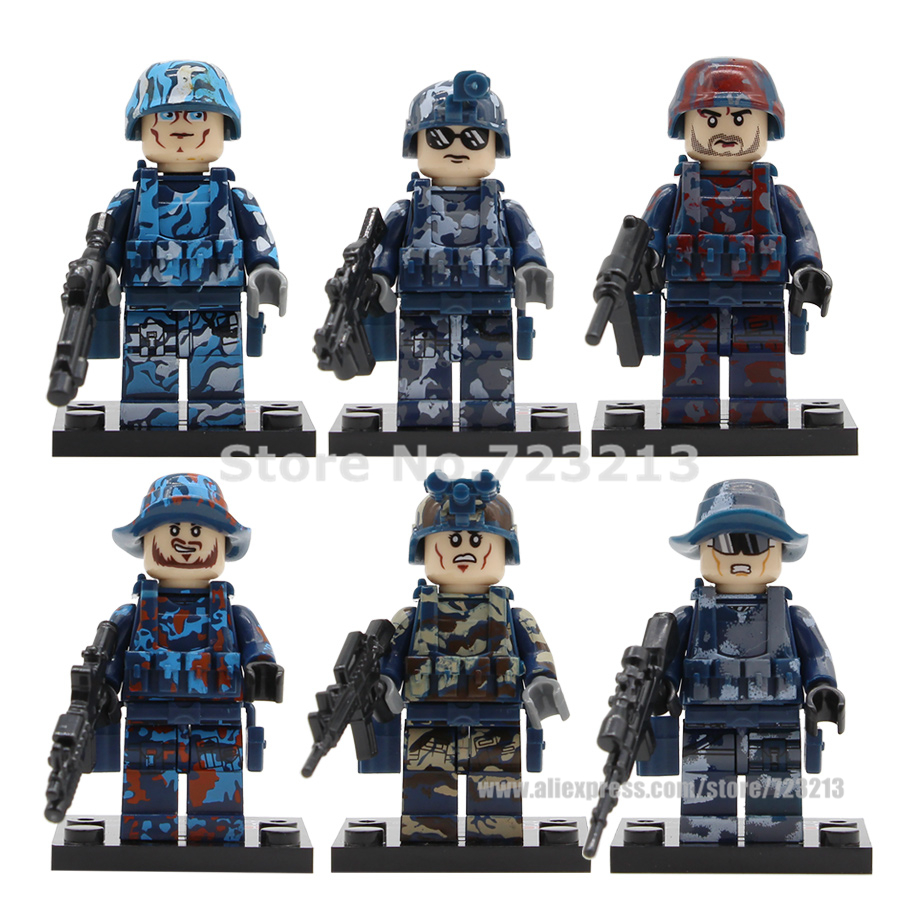 Hot Sale 6pcs/lot SWAT Camouflage Military Figure Set No Box Navy Black Weapon Building Blocks Sets Model Bricks Toys Legoing
