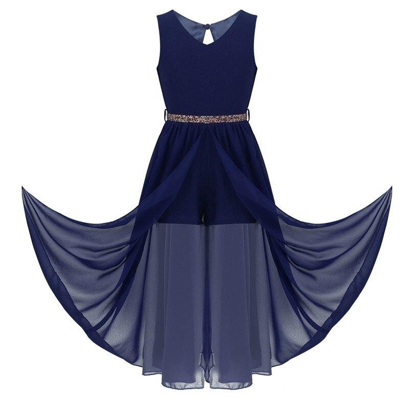 Image 2 - Floor Length Chiffon Flower Girls Dresses Princess Sleeveless V Neck Maxi Romper Dress with Rhinestone Belt For School DanceFlower Girl Dresses   -