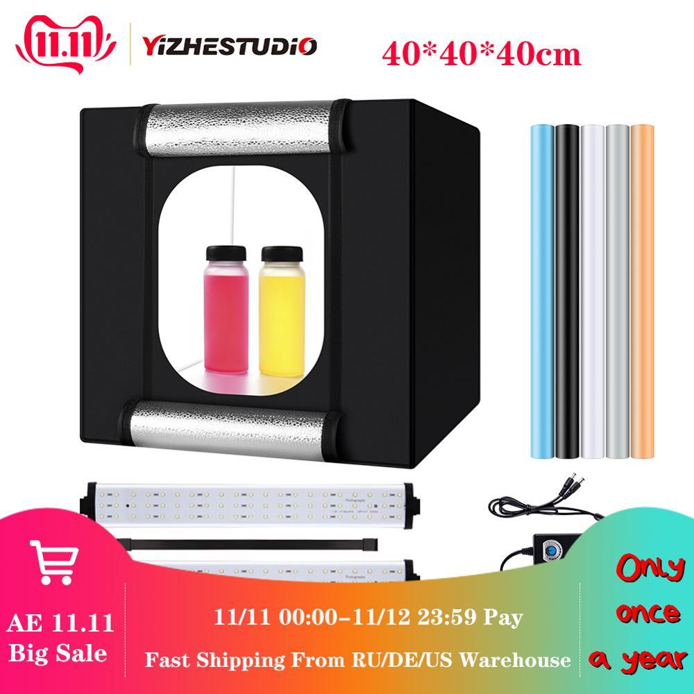 Yizhestudio 40*40 cm Klapp photobox 2 Panel LED Licht Fotografie Schießen Zelt led studio foto box hintergrund Zubehör
