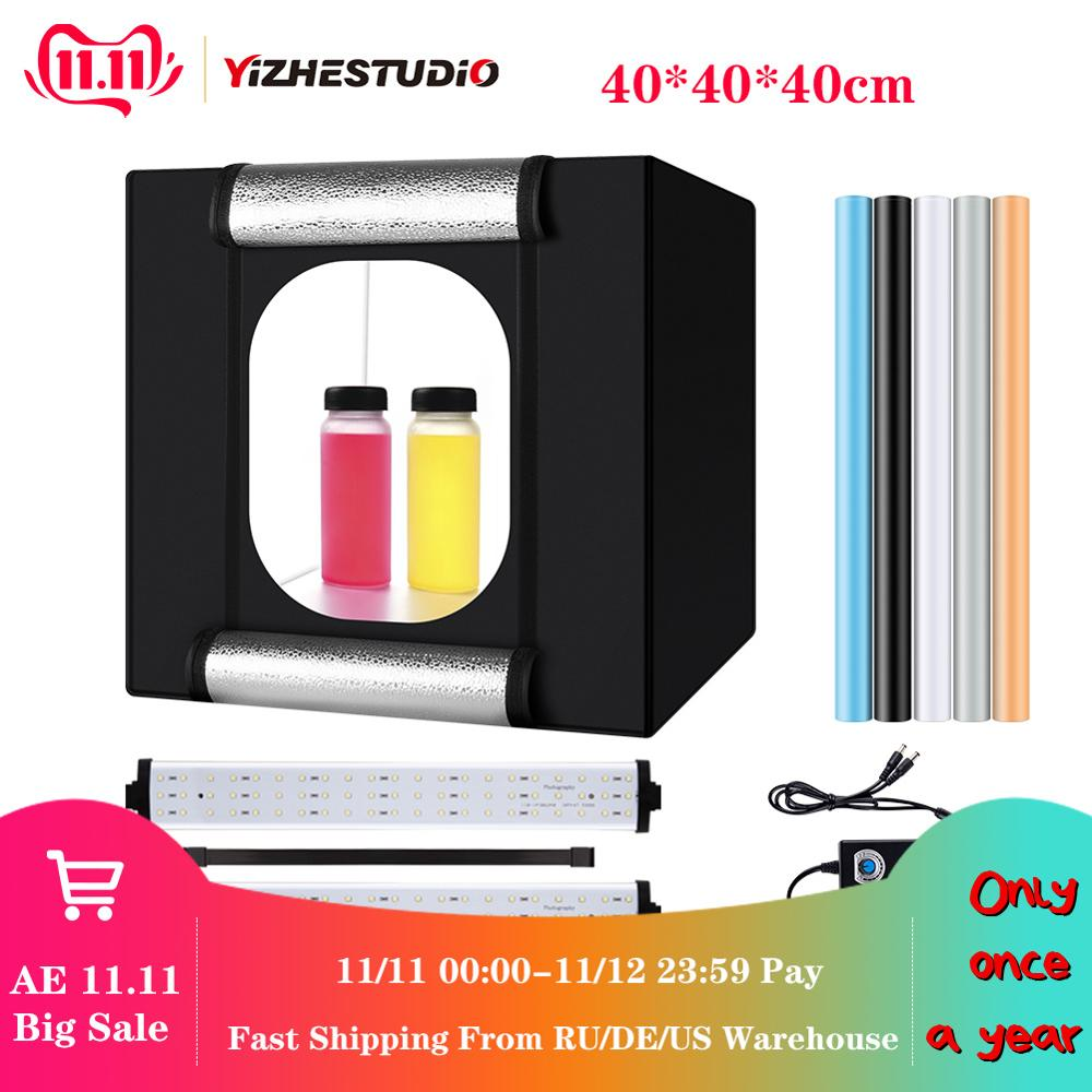 Yizhestudio photo box 40*40 cm LED Light box tabletop Shooting foldable Tent led studio box photobox for photography background-in Tabletop Shooting from Consumer Electronics