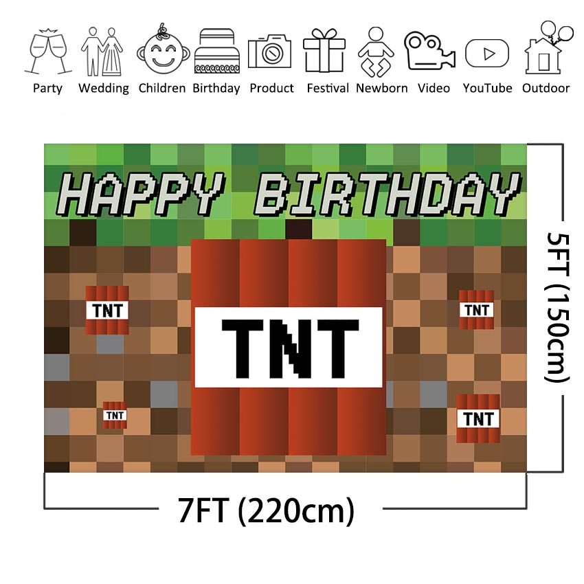TNT Birthday Party Photography Backdrops Dynamite Pixel Video Game Photo Booth Background Birthday Party Decoration Banner