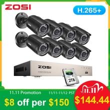 Zosi 8CH cctvシステムH.265 + HD TVI dvrキット8 1080 720pホームセキュリティカメラ防水屋外ナイトビジョンカメラビデオ監視キット