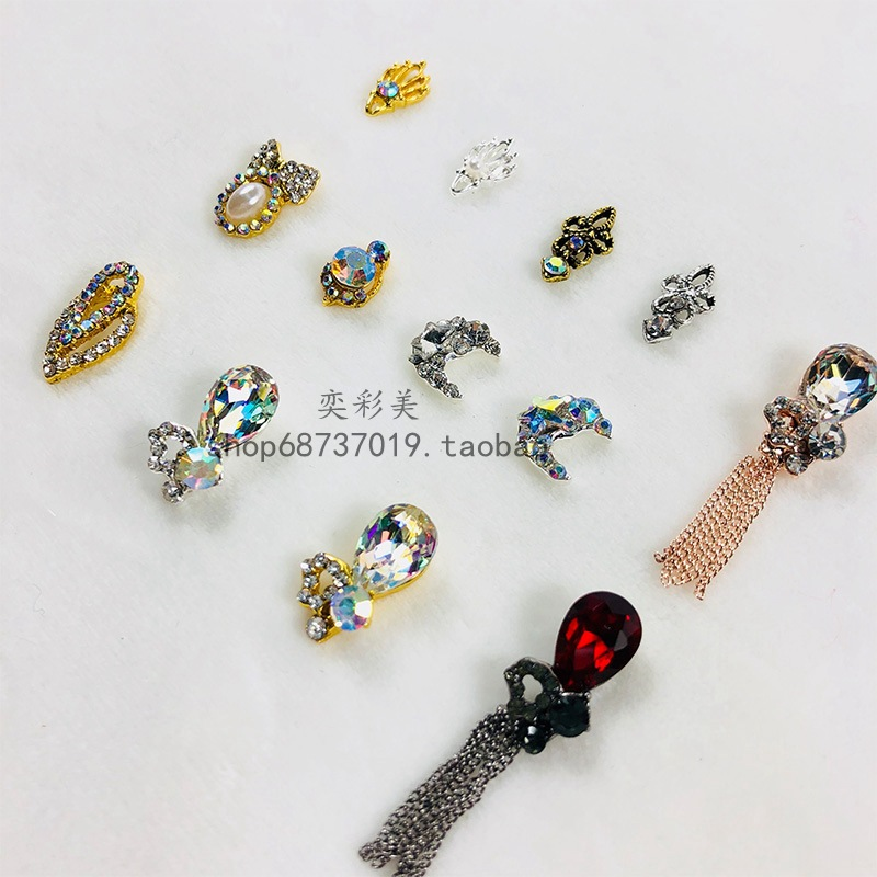 Nail Rhinestone Accessories Nail Diamond Vintage-Strip Colorful Crystals Shiny Stickers Diamond Rhinestone Ornament Tassels Acce
