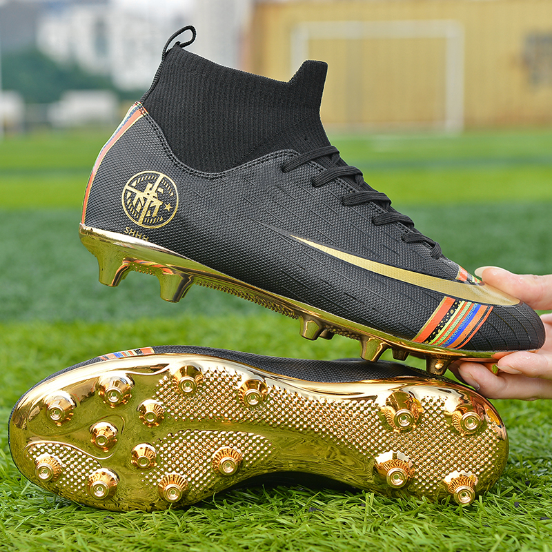 Athletics Football Spikes Shoes High Top Soccer Boots 2019 Black Gold Outdoor Soft Ground Soccer Sneakers Men Kids Ankle Boots title=