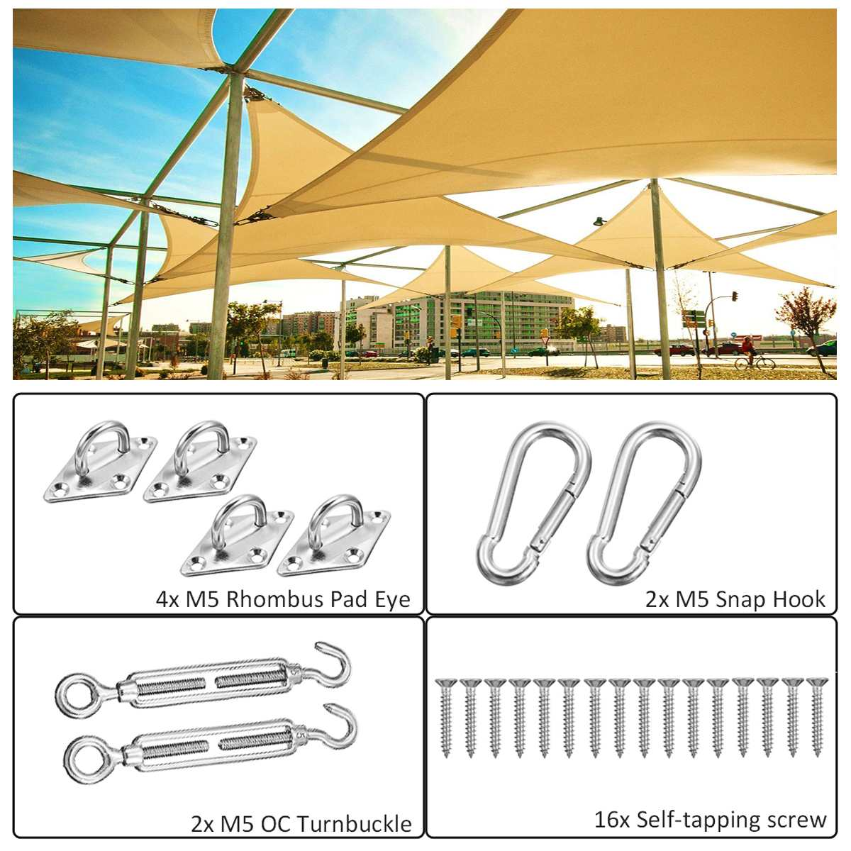 24pcs Sun Shade Sail Accessories For Triangle Or Square Shade Sail Replacement Fitting Tools