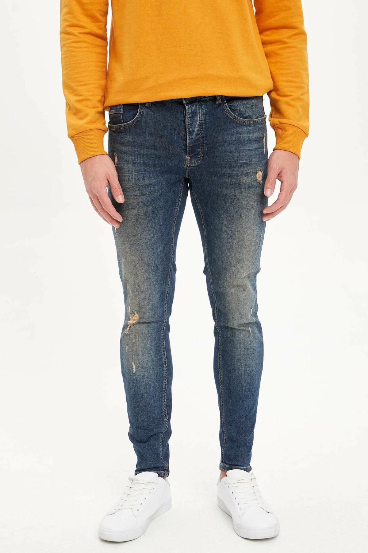 DeFacto Man Washed Ripped Hole Blue Denim Jeans Men Casual Mid-waist Straight Denim Pants Male Bottoms Trousers-L6721AZ19AU