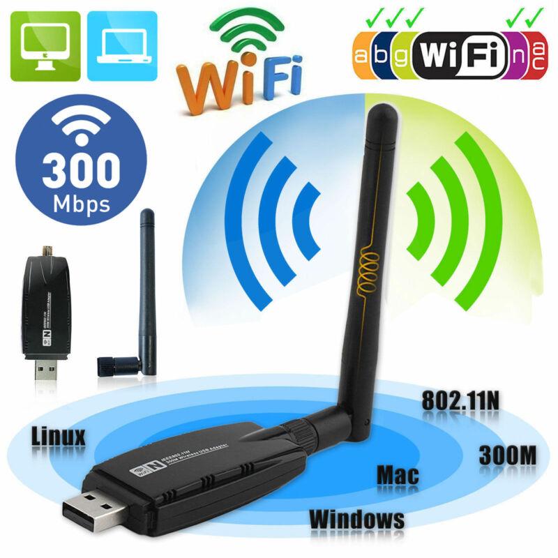 2020 300Mbps Wireless USB WiFi Adapter Dongle Network LAN Card 802.11b/g/n W/ Antenna