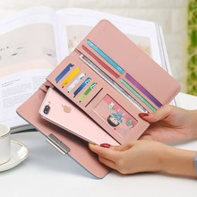 2019New Fashion Women Wallets Long Style Multi-functional wallet Purse Fresh PU leather Female Clutch Card Holder